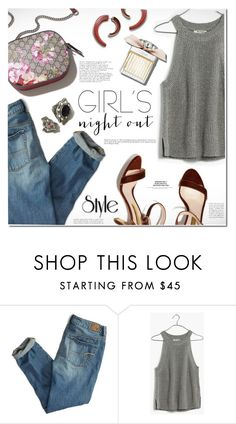 """Girls' Night Out: Summer Edition"" by rosie305 ❤ liked on Polyvore featuring American Eagle Outfitters, Madewell, Lizzie Fortunato, Benefit and girlsnightout"
