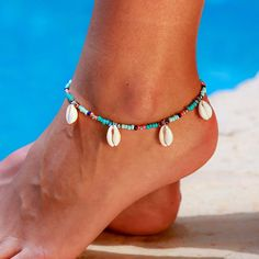 Topdo 2 Pcs Lady Fashion Gold Color Turquoise Anklet Blue Bead Anklet Alloy Double-layer Foot Chain Jewelry Set