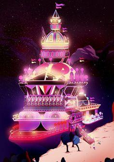 """Carnival Ship"" - A Giclée Print by Kilian  Eng  #inprnt #print #art #Illustration $20.00"