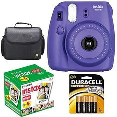 Fujifilm Instax Mini 8 Instant Film Camera Grape Purple With Fujifilm Instax Mini 5 Pack Instant Film 50 Shots  Compact Bag Case  Batteries Top Kit  International Version No Warranty *** You can get more details by clicking on the image.