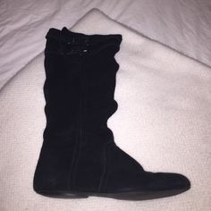 Black Boots Black boots-only worn once! I believe the boots are a size 8 but I will double check. They have a buckle and some rouching on the side. naughty monkey Shoes