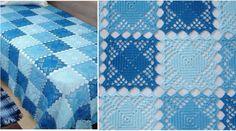 Simple Motif en Crochet avec Patron - Crochet et plus.Crochet et plus… Crochet Square Patterns, Crochet Blocks, Crochet Diagram, Crochet Squares, Crochet Designs, Crochet Mandala, Crochet Motif, Diy Crochet, Crochet Crafts