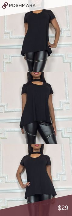 Cute short sleeve black top blouse with choker FOLLOW MY CLOSET-I ADD NEW STYLES DAILY! I'm 5'2 34D 26 Waist 36 hip and in a Small  Super Cute casual shirt with choker detail at neckline - slightly longer at sides Brand NEW so PERFECT condition Small fits sizes 2,3,4  For Bust 32-35 in; Waist 24-28 in; Hip 34-37  F9 Poly/Spandex blend- lots of stretch -no show through  18 in. underarm to bottom hem  VISIT MY CLOSET FOR MORE SASSY SNOB SEXY STYLES! Sassy Snob Tops Blouses