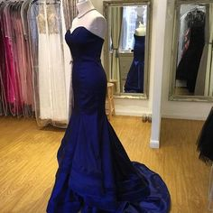 A398 royal blue sweetheart prom dress, chiffon prom gown long party dress,mermaid evening gowns