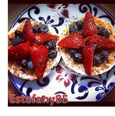 healthy breakfast for today two honey nut rice cakes with PB2 peanut butter, strawberries, blueberries, and a little chia seeds. All less than 250 calories. #HealthyBreakfast, #CleanEats, #FitFoods, #Healthy, #Nutrition, #Lifestyle, #HealthyFood, #Breakfast, #RiceCakes, #PB2, #ChiaSeeds, #Blueberries, #Yum, #Weightloss, #Strawberries, #Estefany85