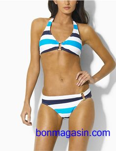 c11f9c04238 Ralph Lauren Crochet Ricky Top Bikini Darkblue White