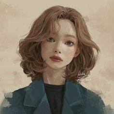 Ideas For Hair Art Illustration Portraits Art And Illustration, Digital Portrait, Portrait Art, Hiba Tan, Stil Inspiration, How To Draw Hair, Pretty Art, Hair Art, Anime Art Girl