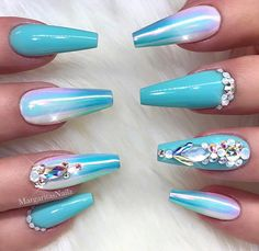 Tiffany blue ombré coffin nails  Chrome unicorn bling nail art design