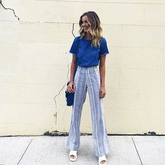 Blue Stripe Flare Pants | #SaboSkirt  She's a showstopper especially in those pants! @caitlynpaterson