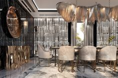 The dining area of this house is filled with many luxurious, Dining Room Sets, Dining Room Design, Luxury Dining Chair, Modern Dining Table, Dining Tables, Luxury Homes Interior, Home Interior Design, Luxury Rooms, Interior Paint