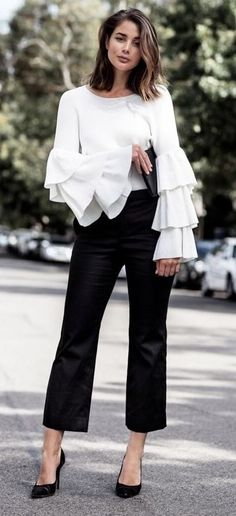 ZARA white sweater with frilled sleeves