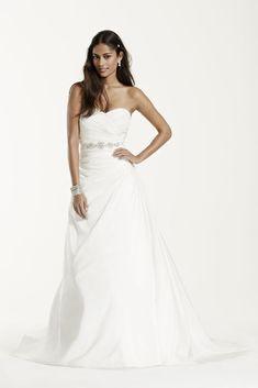 Taffeta A-Line Wedding Dress with Sweetheart Neck - White, 8