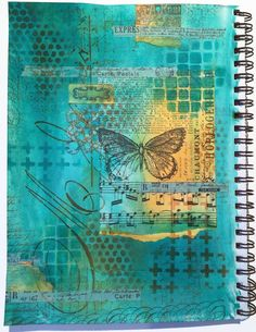 Art journal with Dylusions paint, stamps, stencils and more (Marjie Kemper)