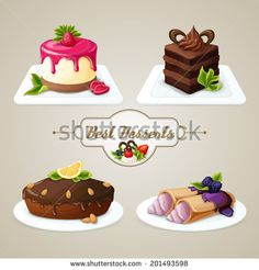 Decorative sweets food best dessert set of crepes cheesecake layered cake with syrup vector illustration - stock vector