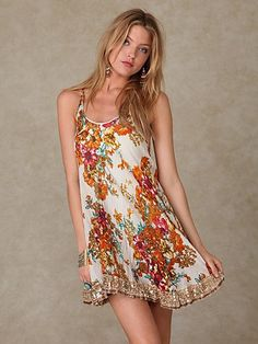 New Crinkle Floral Dress at Free People