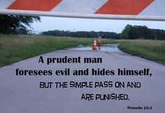 A prudent man foresees evil and hides himself, but the simple pass on and are punished. Proverbs 22:3