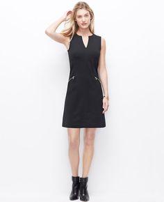 Ponte Zipper Dress | Ann Taylor