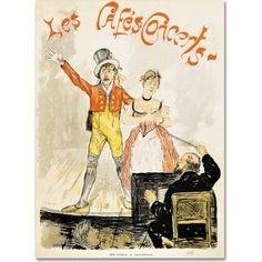 Trademark Fine Art Poster of Stage Performance at Cafe Chantant Canvas Art, Size: 24 x 32, Multicolor