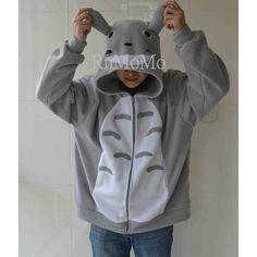 Totoro Hoodie Kigurumi Cosplay Charactor Animal Hooded Pajamas Pyjamas... ($40) ❤ liked on Polyvore featuring grey, sweatshirts and women's clothing