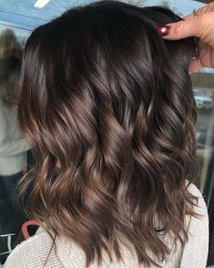 99 modern short ombre hair color ideas – samantha fashion life - All For Hair Color Trending Brown Hair Balayage, Hair Color Balayage, Hair Highlights, Color Highlights, Balayage Brunette Short, Short Brunette Hairstyles, Dark Brunette Balayage Hair, Medium Brunette Hair, Dark Balayage