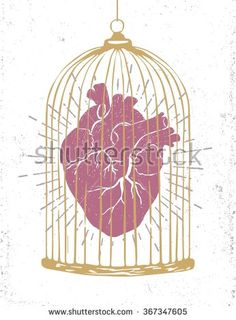 Hand drawn textured romantic poster with human heart in a cage vector illustration.