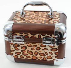 Leopard Hard Case Rockabilly Make Up Bag Train Case Organizer