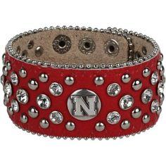 Nebraska Cornhuskers Ladies Glitz Leather Cuff Bracelet - Scarlet