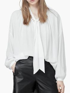 #AdoreWe #JustFashionNow yinbo❤️Designer Womens White Balloon Sleeve Tie Collar Solid Blouse - AdoreWe.com