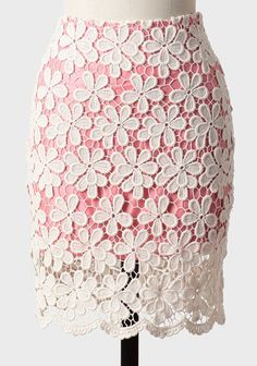 at Ruche // pink skirt with white lace crocheted overlay