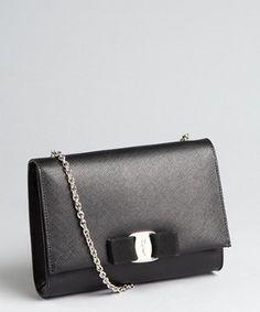 Salvatore Ferragamo black crosshatched leather chain strap shoulder bag