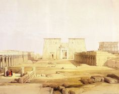 David Roberts - The Great Colonnade In Front Of The Temple Of Isis At Philae in 1839