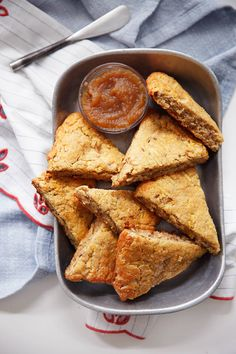 These Gluten-Free Apple Scones are the perfect fall baking recipe. They are light and crumbly and full of apples and cinnamon. They are such a treat to serve to serve on crisp fall morning! Gluten Free Scones, Gluten Free Sweets, Gluten Free Baking, Gluten Free Recipes, Baking Recipes, Paleo Breakfast, Breakfast Recipes, Breakfast Hash, Apple Scones