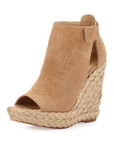 Openhouse Suede Wedge Sandal, Cashew by Stuart Weitzman at Neiman Marcus.