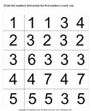 Identify numbers 1