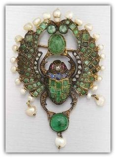 Egyptian Revival scarab brooch, circa 1900.