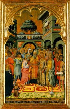 """""""The Marriage of the Virgin"""" c. 1370 - 1388 by NiccolòdiBuonaccorso. National Gallery, London"""