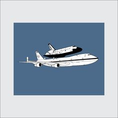Space Shuttle on 747 Art Print, 8x10 PRINTABLE, NASA, Instant Download, Digital