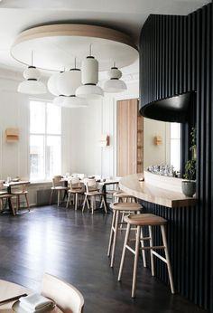 Happolati Restaurant in Oslo by Anderssen & Voll - Nordic Design Scandinavian Restaurant, Scandinavian Interior, Restaurant Interior Design, Cafe Interior, Cafe Bar, Cafe Restaurant, Restaurant Counter, Commercial Design, Commercial Interiors