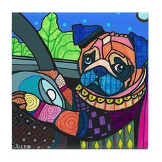 50% OFF- Pug Driving Car art Tile Ceramic Coaster Mexican Folk Art Print of painting by Heather Galler dog
