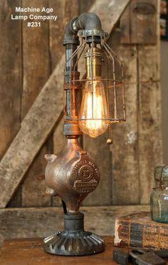Steampunk Industrial Lamp, Steam Gauge  #231 -