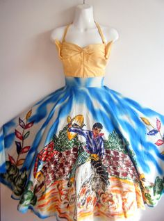 Stunning 1950s circle skirt / hand-painted Mexican charreria themed artwork with sequins