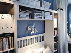 HEMNES bookcases and bridging shelf surrounding a bed Hemnes Bookcase, Bookshelf Bed, Ikea Bookcase, Bedroom Hacks, Ikea Bedroom, Home Bedroom, Bedrooms, Overbed Storage, Shelf Over Bed