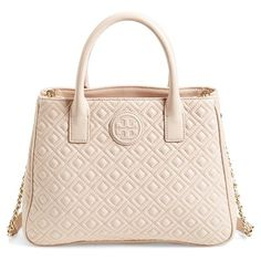 Tory Burch 'Marion' Quilted Lambskin Tote ($525) ❤ liked on Polyvore featuring bags, handbags, tote bags, light oak, pink purse, pink quilted purse, tory burch, quilted handbags and lambskin handbag