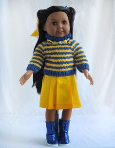 Excited to share the latest addition to my #etsy shop: 18 inch Doll Clothes, doll outfit, Fits Like American Girl, Warriors, Sports Team Sweater, Yellow Skirt, Blue Boots, Journey, Alexander, #toys #sweaters #yellow #birthday #blue #valentinesday #18inchdollclothes