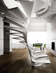 Disguincio & Co has developed a concept for a spiral staircase design that made of fiberglass . The Folio spiral stairs design consists of a sequence of steps that slot together Floating Staircase, Modern Staircase, Staircase Design, Staircase Ideas, White Staircase, Spiral Staircases, Stair Design, Staircase Outdoor, Luxury Staircase
