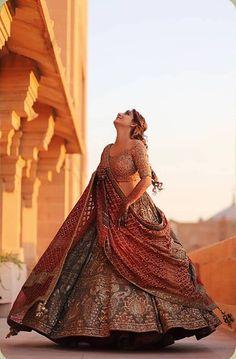 Deep grey wedding lehenga by Rimple and Harpreet Narula. Wedding Lehenga Designs, Designer Bridal Lehenga, Indian Bridal Lehenga, Indian Bridal Outfits, Indian Bridal Fashion, Indian Bridal Wear, Indian Gowns, Indian Fashion Dresses, Indian Designer Outfits