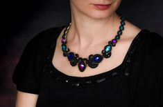 Black colorful crystal soutache necklace Soutache Necklace, Boho Necklace, Collar Necklace, Crystal Necklace, Black Jewelry, Jewelry Art, Handmade Necklaces, Handmade Jewelry, Christmas Gift Inspiration