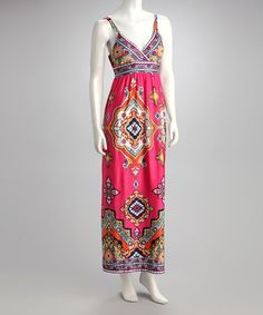 Take a look at this Fuchsia Surplice Maxi Dress by Olivia Matthews on #zulily today!