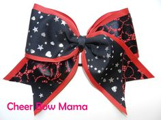 Red & Black Lace and Silver Stars and Hearts Cheer Bow BY Cheer Bow Mama