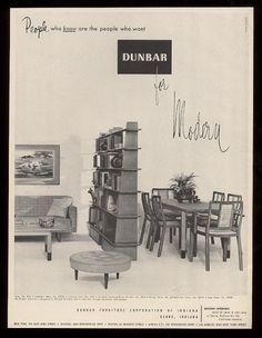 1952 Mid Century Modern Bookcase Sofa Dining Table Photo Dunbar Vintage Print Ad